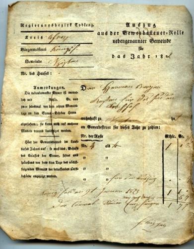Rechnung über die Kosten des Friedhofs 1823